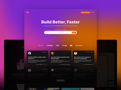Marketplace's homepage branding design ui illustration teamwork freelancers freelance builders web team mobile team gradient webapp services teams a.team marketplace