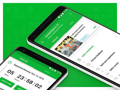 Order timeline concept / Android android card fiverr gig green order results list timeline pixel open order pro