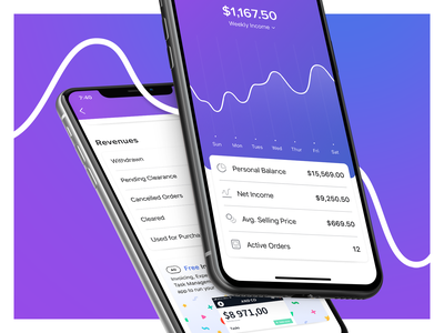 Earnings money balance graph earnings icon branding ui design concept blue mobile fiverr ios app