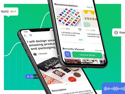 Gig page task order gig card ui concept design mobile fiverr ios green app