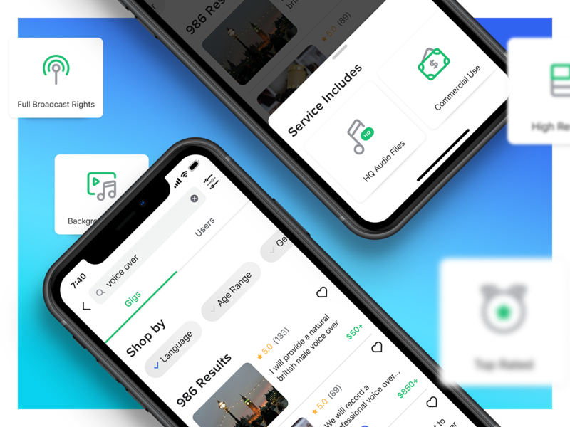 Search results & Top filters ui mobile fiverr ios app search engine icons top filter filter gig cards results search results flow searching search