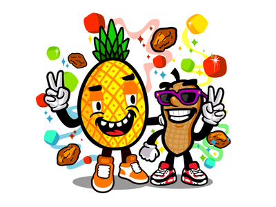 Nuts character illustration cartoon bright colours characters character