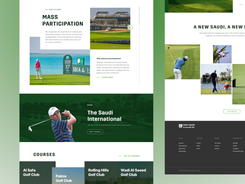 Golf Tournament booking ux landing ui homepage green game premium courses grid sport webdesign web saudi golf