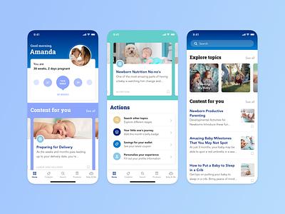 Enfamil App – Pregnancy & Baby Tracker ios tracker medical blue health baby pregnancy mother design ux ui app