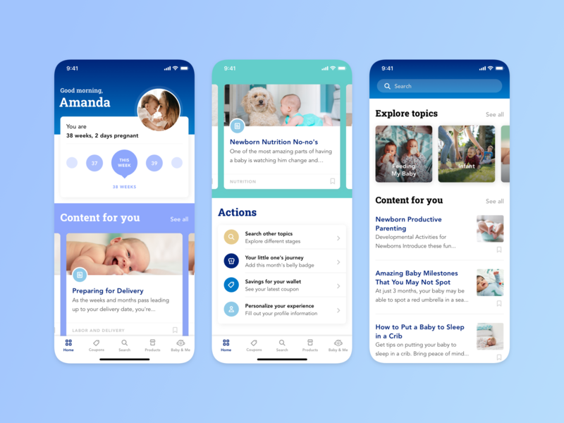 Enfamil App – Pregnancy & Baby Tracker ios tracker medical blue health baby pregnancy mother design ux ui app