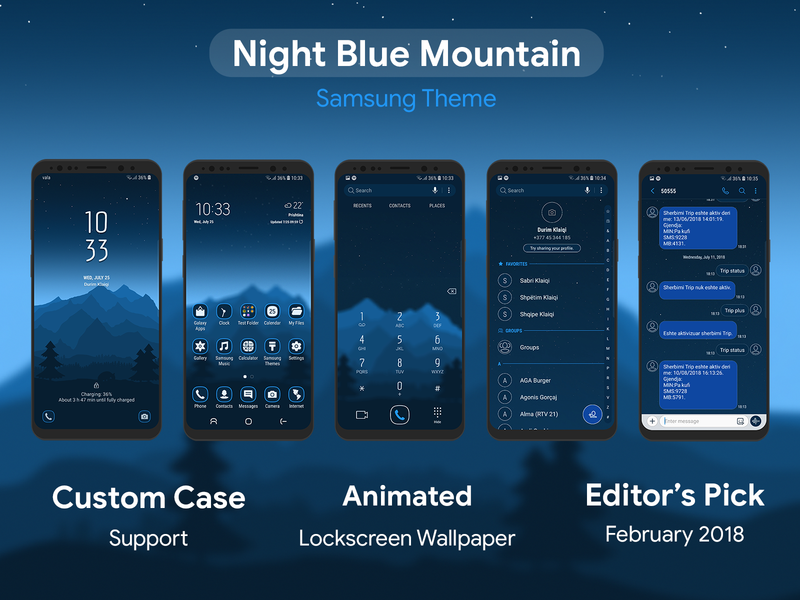 Night Blue Mountain Samsung Theme By Durim Klaiqi Dribbble