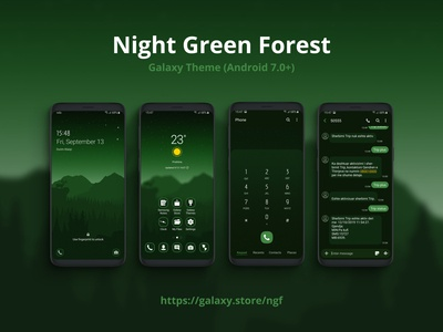 Night Green Forest | Samsung Galaxy Theme