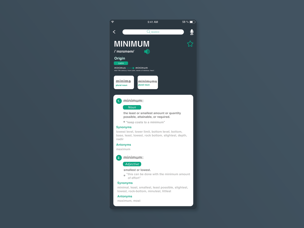 Dictionary UI by Shreya Yadav on Dribbble