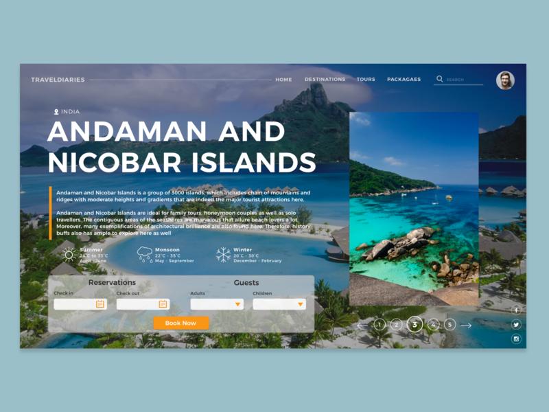 Travel Site- Landing Page travelling travel landing page design ui