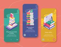 Onboarding screens for an E- Book App