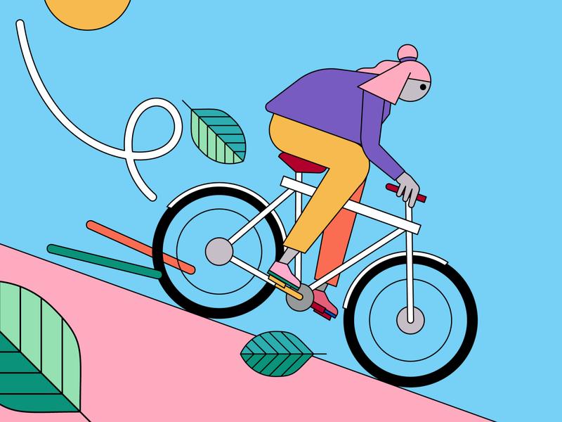 Spielwork - bike amsterdam vanmoof animation riding fixie hill flatdesign bike drawing illustrator vector artwork illustration