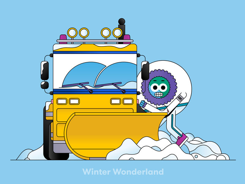 Globi: Winter Wonderland graphic design artwork editorial spot illustration vector flatdesign illustrator illustration character mascot character design ice working freezing blue cold snow schiphol wonderland winter