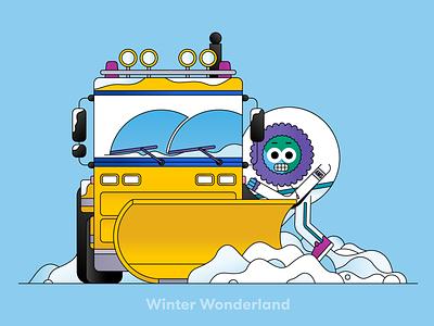 Globi: Winter Wonderland graphic design artwork editorial spot illustration vector flatdesign illustrator illustration character mascot character design ice working freezing blue cold snow schiphol wonderland winter