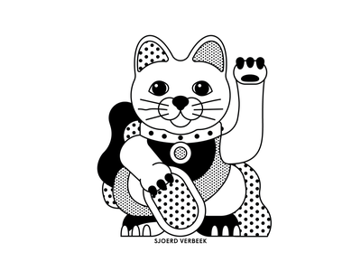 Lucky Cat black  white personal campaign happy pattern dots luck travel asia tokyo japan illustration illustrator vector artwork maneki neko lucky cat