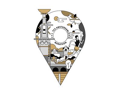 Mizuno Merchandise for TCS Amsterdam Marathon event marathon blackwhite linework illustration design identity branding design brand story logo branding design campaign artwork drawing flatdesign vector illustrator illustration running