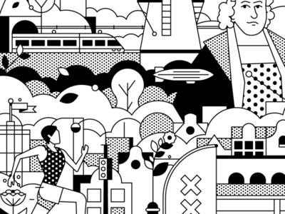 Mizuno Merchandise for TCS Amsterdam Marathon sports dribbble adobe dutch rembrandt line osaka japan japanese merchandise campaign marathon linework branding flatdesign drawing artwork vector illustrator illustration