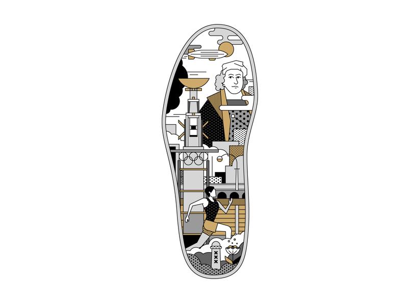 Mizuno Merchandise for TCS Amsterdam Marathon pattern design dots linework rembrandt dutch amsterdam marathon branding campaign storytelling graphic design flatdesign drawing artwork vector illustrator illustration