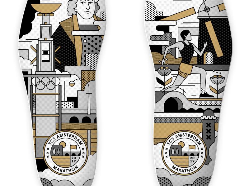 Mizuno Merchandise for TCS Amsterdam Marathon identity brand type logo rembrandt running marathon amsterdam art japanese mizuno merchandise merch insole shoe shoes linework flatdesign design illustration