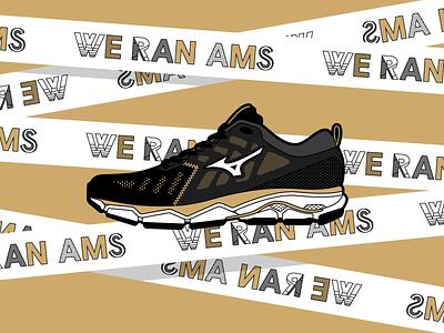 Mizuno Merchandise for TCS Amsterdam Marathon linework running sports sport mizuno dutch marathon type fashion shoe typography concept storytelling graphic design flatdesign drawing artwork vector illustrator illustration
