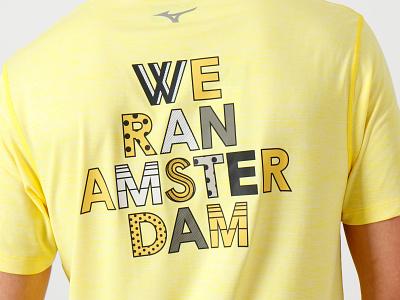 Mizuno Merchandise for TCS Amsterdam Marathon artwork drawing flatdesign illustrator running sports sport japan mizuno brand pattern dots goodtype type typography shirt merchandise marathon