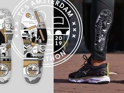 Mizuno Merchandise for TCS Amsterdam Marathon museum rijksmuseum dutch marathon insole illustrations logo design logo branding sport brand sport mizuno shoe design shoe running illustrator vector flatdesign storytelling illustration