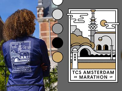 Mizuno Merchandise for TCS Amsterdam Marathon dribbble adobe colors pattern fashion stadion olympic amsterdam illustrations merchandise jacket drawing storytelling artwork illustrator illustration