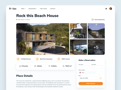 R•lax Place Details booking logo icons ui ux gallery form input photo dribbble lviv design website web interface vacation place apartments relax details