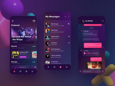 Gaming Collaboration Platform & Marketplace 🎮 art modeling graphic navigation messenger chatbot banner slider illustration ux ui 3d 2d cyberpunk dark mobile app design ukraine games game mobile