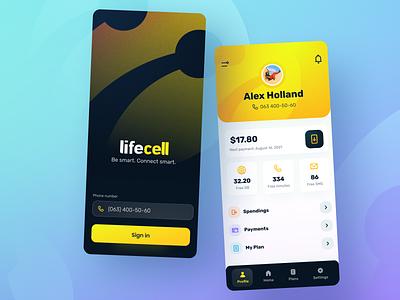 Lifecell App bright ukraine lviv branding ios iphone life logo illustration button ux design graphic yellow lemon interface application app mobile ui