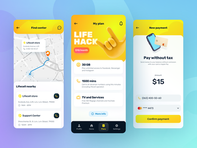 Lifecell App pay payment 3d style connection phone cell yellow lemon application app mobile life ui branding logo illustration interface design ux