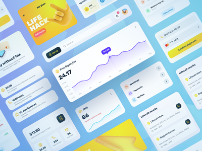Lifecell App desktop clear stylish top illustration figma trend component 2d 3d style life web mobile application yellow design interface ux ui