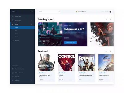 Microsoft Store App Improvement cyberpunk witcher dark light interface ux ui application animation apps windows microsoft design fluent store games gaming desktop web motion
