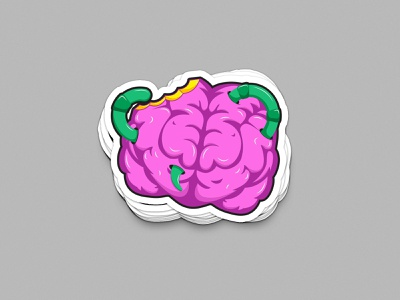 Broken Brain vector illustraion worm brain sticker