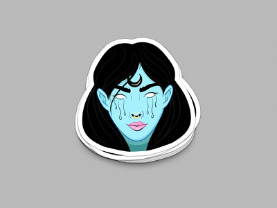 Woke Witch illustrator sticker witchcraft nose ring lips crying tears black magic moon witch