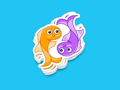 Pair of Fish Sticker mirrored sticker koy goldfish yinyang twin fish