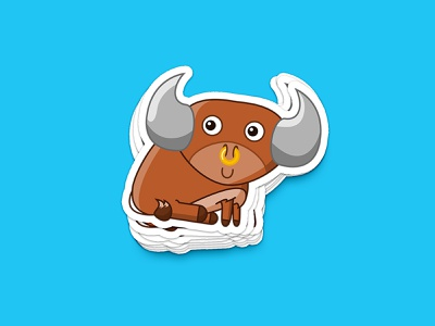 Bull Sticker sticker design nose ring farm livestock sticker
