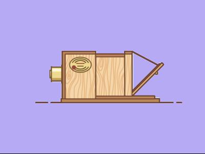Giroux Daguerreotype square illustration wood icon single weight camera daguerreotype