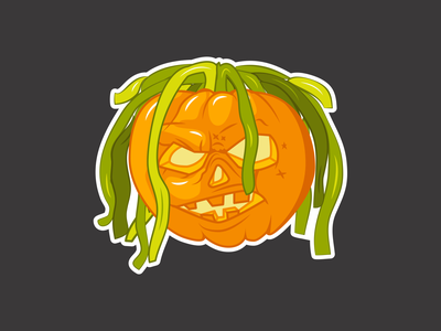 LIL PUMP(kin) vectober illustration pump lil pumpkin king sticker halloween pumpkin lilpump
