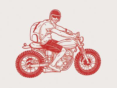 Moto line art motorcycle bike honda vector illustration character