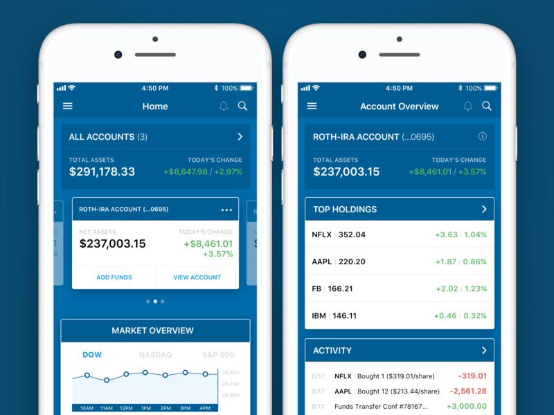 Bank Management App dashboard stocks money bank fintech mobile interaction design app ux ui design