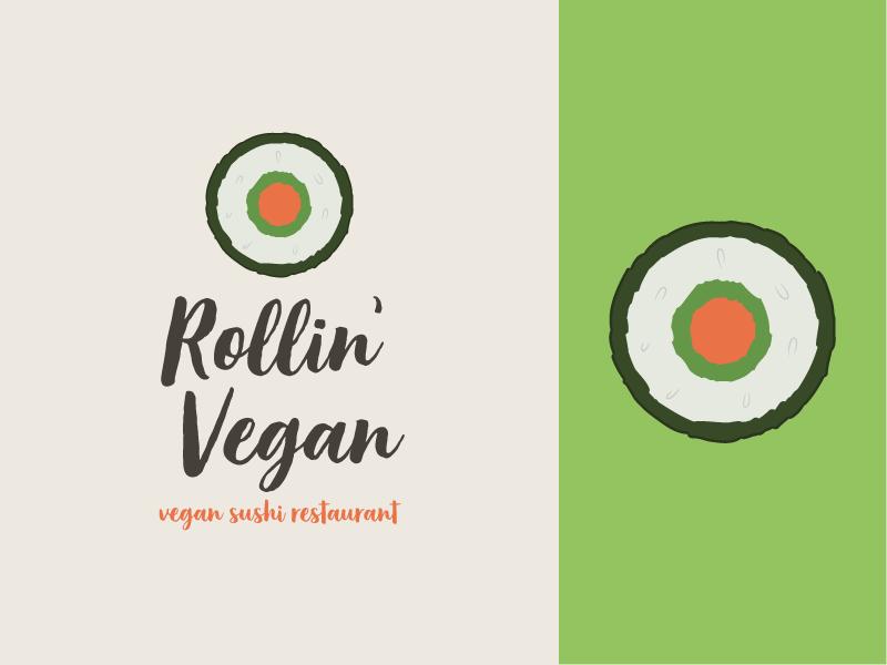Rollin' Vegan (Logo) feedback sushi food restaraunt logo design concept logo design