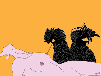 Nip the Nipples bizarre art bizarre cover art blondie design vector illustration polish hen