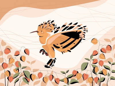 ODUD plant autumn bird flat vector illustration design