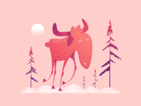 Moose-like character design walking between some pine trees