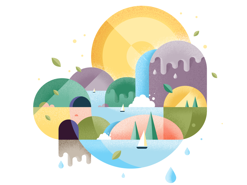Illustration of a holiday landscape colourful vacation sun mountain boats waterfall design adobe vector holiday landscape illustration illustrator