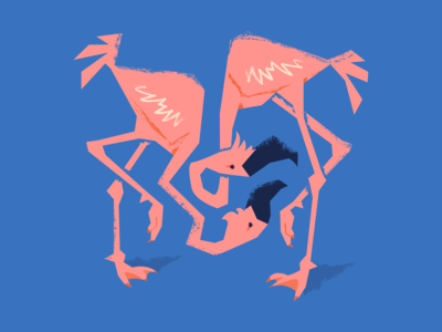 Illustration of two lovebirds on a blue background