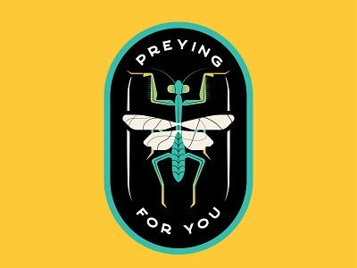 Bug Humor sticker design illustration color badge design puns praying mantis bugs