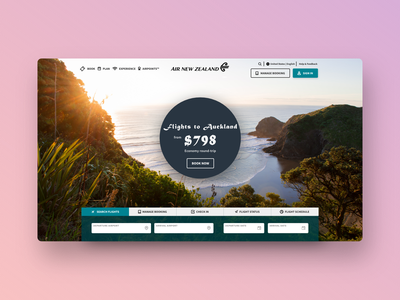 Daily UI #3: Landing Page (Air New Zealand) dailyui003 ui design daily ui challenge daily ui landing page new zealand airline ui dailyui