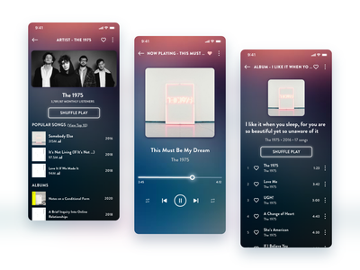 Daily UI #9: Music Player (feat. The 1975) music app ui design daily ui daily ui challenge music app ui the 1975 dailyui009 app design music player music player ui ui