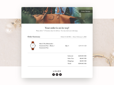 Daily UI #17: Email Receipt (Linjer) email design dailyui17 daily ui 17 receipt ecommerce linjer email receipt ui design daily ui ui daily ui challenge